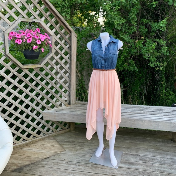 Dresses & Skirts - Jean Vest top attached to a Pink skirt w/ belt